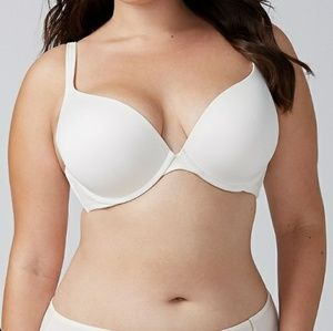 Cacique smooth pushup plunge bra cream white 44dd